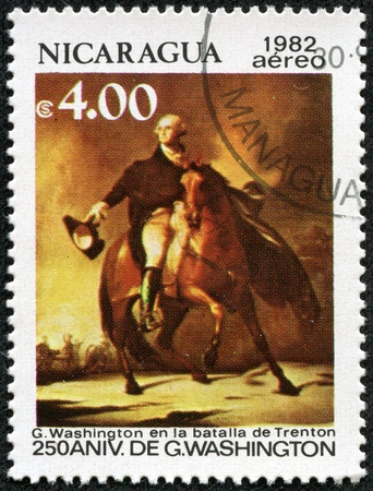 NICARAGUA - CIRCA 1982  A stamp printed in Nicaragua celebrates the 250th anniversary of George Washington , circa 1982 Stock Photo - 17436902