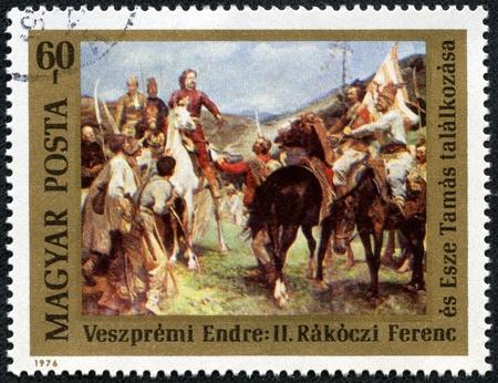 HUNGARY - CIRCA 1976  The postal stamp printed in HUNGARY shows Meeting of Rakoczi and Tamas Esze, series, circa 1976 Stock Photo - 17436923