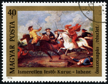 magyar posta: HUNGARY - CIRCA 1976  A stamp printed in Hungary issued for the 300th Birth Anniversary of Prince Ferenc Rakoczi II shows the clash between Rakoczi s Kuruts and Hapsburg Soldiers, circa 1976