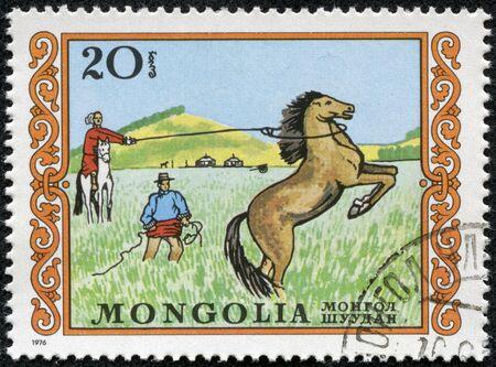 MONGOLIA - CIRCA 1976  A stamp printed in MONGOLIA shows a an unbroken horse bucks, series, circa 1976