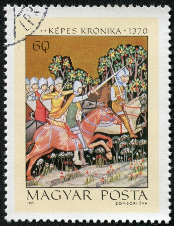 chronicle: HUNGARY - CIRCA 1971  A spamp printed in Hungary shows Miniatures from the Illuminated Chronicle of King Lajos I of Hungary  The Pursuit of King Peter, circa 1971 Editorial