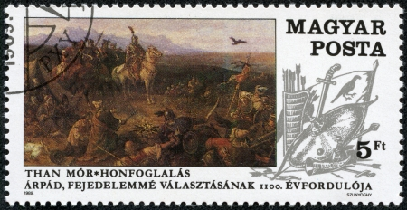 HUNGARY - CIRCA 1989  A stamp printed in Hungary showing Conquest of Hungary, by Mor Than, circa 1989 Stock Photo - 17436920