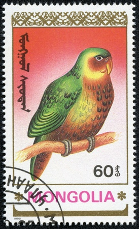 MONGOLIA - CIRCA 1990  A postage stamp printed in Mongolia shows birds-parrot, series animals, circa 1990 Stock Photo - 17455609