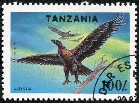 TANZANIA - CIRCA 1994  A stamp printed in Tanzania shows eagle, circa 1994 Stock Photo - 17455562