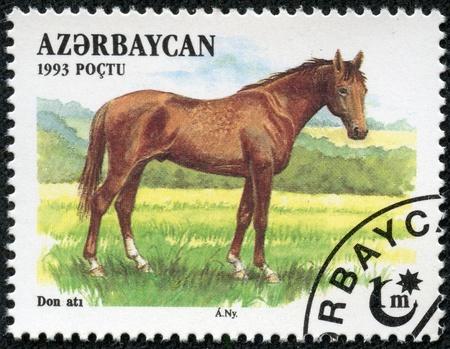 philatelic: AZERBAIJAN - CIRCA 1993  A stamp printed in Azerbaijan shows a brown, Akhal-Teke Akhaltekin breed horse standing in a pasture, circa 1993