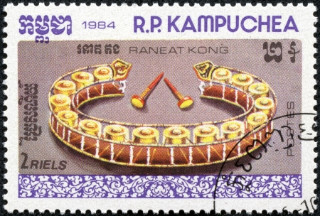 CAMBODIA - CIRCA 1984  A stamp printed in Cambodia  Kampuchea  shows a Musical Instruments with the inscription  Raneat kong  bells  , from the series  Traditional Musical Instruments , circa 1984 Stock Photo - 17561111