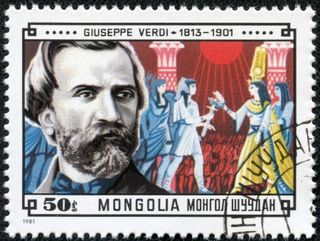 MONGOLIA - CIRCA 1981  A stamp printed in Mongolia shows Giuseppe Verdi  1813-1901  and Scene from his Aida, circa 1981