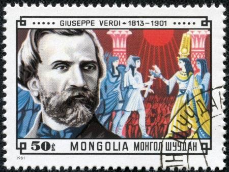 verdi: MONGOLIA - CIRCA 1981  A stamp printed in Mongolia shows Giuseppe Verdi  1813-1901  and Scene from his Aida, circa 1981