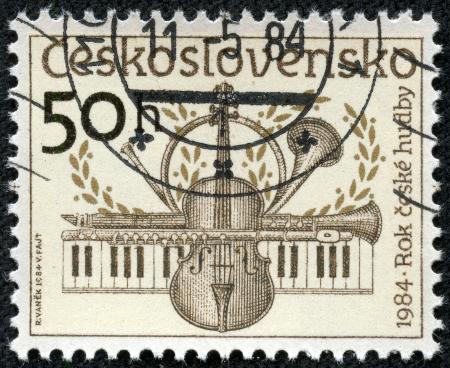 CZECHOSLOVAKIA - CIRCA 1984  The stamp printed in Czechoslovakia shows musical instruments, circa 1984 photo