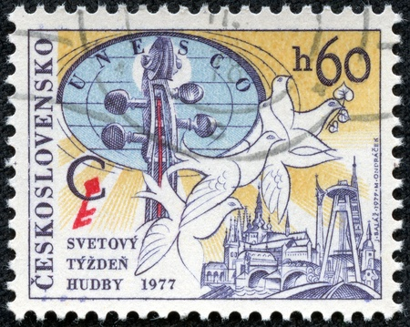 CZECHOSLOVAKIA - CIRCA 1977  A stamp printed in CZECHOSLOVAKIA shows World Music Week, circa 1977 Stock Photo - 17560716