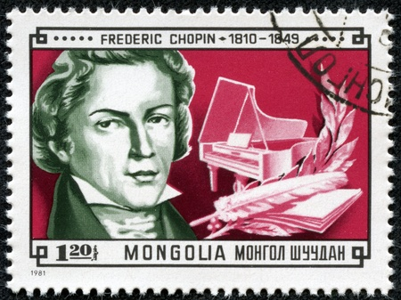 MONGOLIA - CIRCA 1981  A stamp printed in Mongolia shows picture of grate composer Frederic Chopin, eradicated to 120th anniversary of classic composer, circa 1981 Stock Photo - 17554678