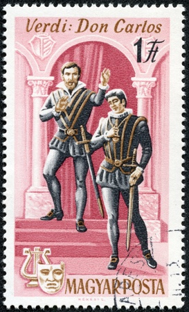 HUNGARY - CIRCA 1967  stamp printed by Hungary, shows Scene from Don Carlos opera by Giuseppe Verdi, circa 1967 Stock Photo - 17554693