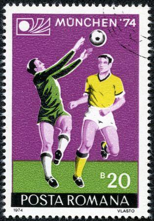 ROMANIA - CIRCA 1974  A stamp printed by Romania, shows football, circa 1974 Stock Photo - 17560776