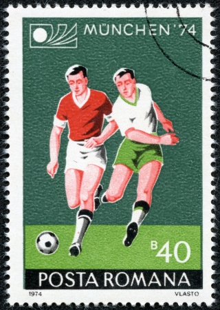 ROMANIA - CIRCA 1974  A stamp printed by Romania, shows football, circa 1974 Stock Photo - 17560775