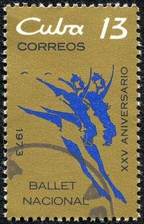 CUBA - CIRCA 1973  A stamp printed in Cuba honoring XXX anniversary of National ballet ob Cuba, circa 1973 photo