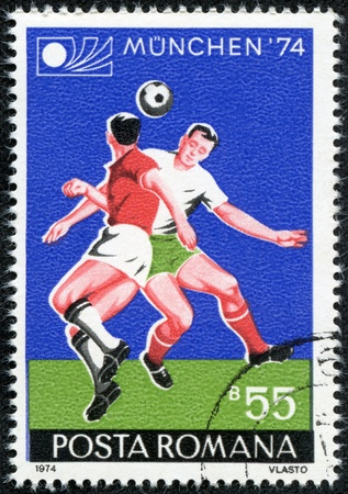 ROMANIA - CIRCA 1974  A stamp printed by Romania, shows football, circa 1974  Stock Photo - 17560860