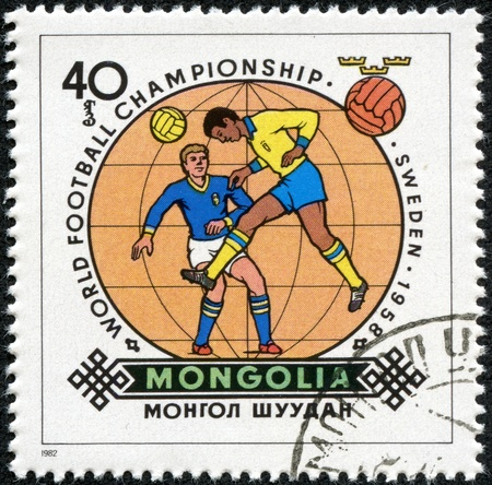 MONGOLIA - CIRCA 1982  stamp printed by Mongolia, shows football, circa 1982  Stock Photo - 17560868