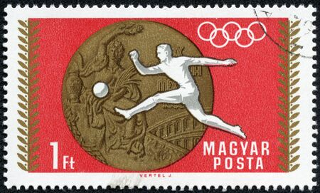 HUNGARY - CIRCA 1969  A stamp printed in the Hungary shows Soccer, Football, Summer Olympic sports, Mexico 68, circa 1969