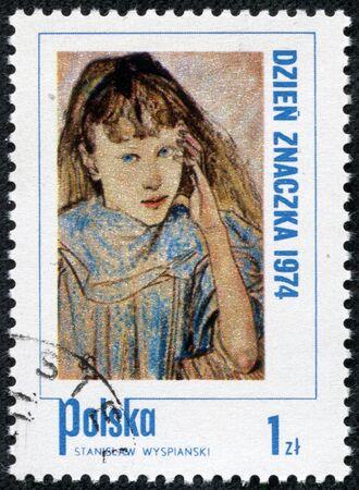 POLAND - CIRCA 1974  A Stamp printed in Poland shows children s portrait by artist Stanislav Wyspianski, circa 1974 Stock Photo - 17554660