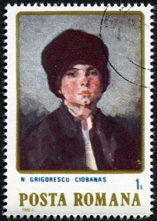 ROMANIA - CIRCA 1984  a stamp printed in Romania shows Portrait of Child, by N grigorescu, circa 1984  Stock Photo - 17560768