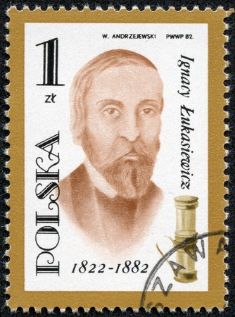 POLAND - CIRCA 1982  A post stamp printed in Poland shows portrait of Ignacy Lukasiewicz pharmacist , circa 1982  Stock Photo - 17554659