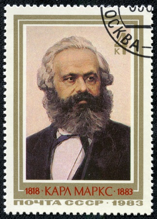 marx: USSR  CCCP  - CIRCA 1983  Mail stamp printed in the USSR  CCCP  featuring a portrait of socialist revolutionary Karl Marx, circa 1983 Editorial
