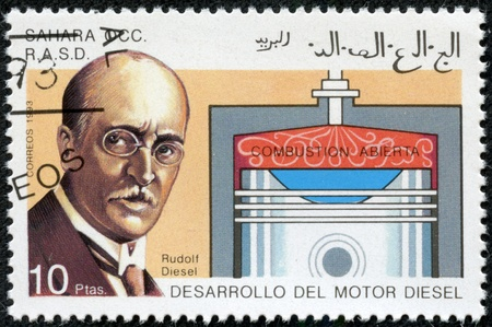 WESTERN SAHARA - CIRCA 1993  A stamp printed in Western Sahara shows rudolf diesel, circa 1993 Stock Photo - 17554670