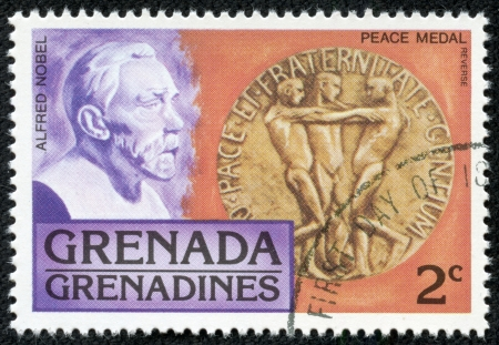 GRENADA - CIRCA 1976  A stamp printed in Grenada, shows alfred nobel, circa 1976 Stock Photo - 17554668