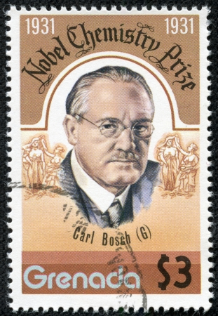GRENADA - CIRCA 1976  A stamp printed in Grenada, shows carl bosch, circa 1976