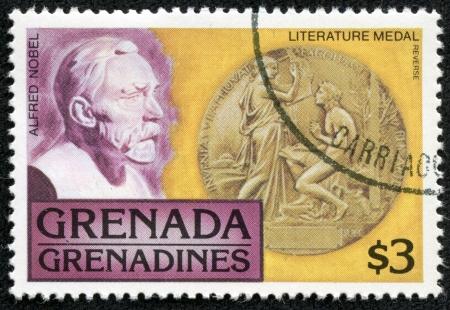 GRENADA - CIRCA 1976  A stamp printed in Grenada, shows alfred nobel, circa 1976 Stock Photo - 17554669