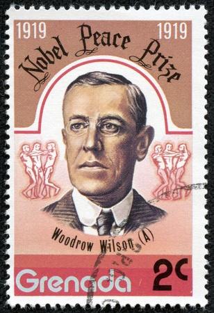 GRENADA - CIRCA 1976  A stamp printed in Grenada, shows Woodrow Wilson, circa 1976 報道画像