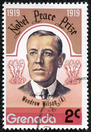 GRENADA - CIRCA 1976  A stamp printed in Grenada, shows Woodrow Wilson, circa 1976 Stock Photo - 17554666