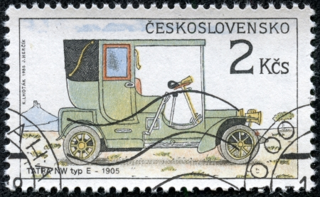 CZECHOSLOVAKIA - CIRCA 1988  A stamp printed by CZECHOSLOVAKIA shows old car, series, circa 1988 Stock Photo - 17560708