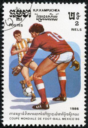 CAMBODIA - CIRCA 1985  1986 World Cup Soccer Championships Mexico, circa 1986  Stock Photo - 17614951