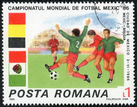 worl: ROMANIA - CIRCA 1986  stamp printed by Romania, show football, Worl d Cup Football Championship, Mexico - 1986 , circa 1986