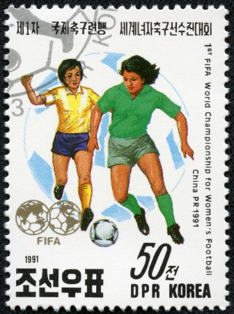 KOREA - CIRCA 1991  a stamp printed in North Korea Shows the Soccer Players with Inscription  1st fifia world championship for Women s football,china 1991 , circa 1991