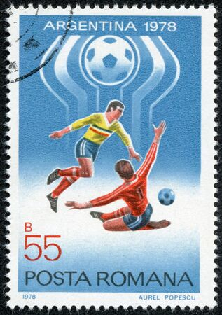 ROMANIA - CIRCA 1978  A stamp printed in Romania showing football in Argentina , circa 1978