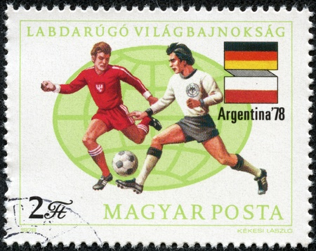 HUNGARY - CIRCA 1978 A post stamp printed in Hungary shows football players, Argentina 1978 11th World Cup Soccer Championships, circa 1978  Stock Photo - 17614927