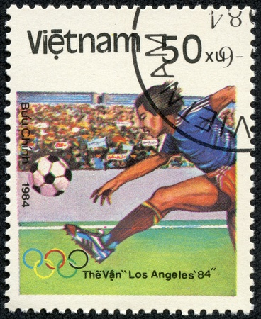 VIETNAM - CIRCA 1984  A stamp printed in the Vietnam shows sport football game, circa 1984 Stock Photo - 17614933
