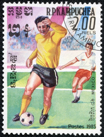 CAMBODIA - CIRCA 1985  stamp printed by Cambodia, shows World Cup Soccer Championships, circa 1985  Stock Photo - 17614963