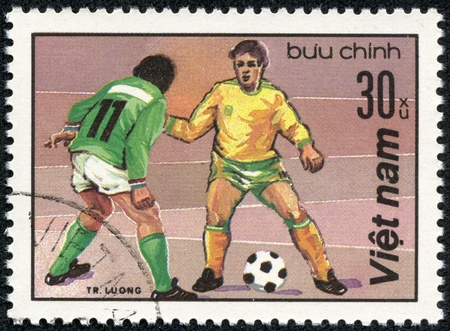 VIETNAM - CIRCA 1980  A stamp printed in the Vietnam shows sport football game, circa 1980 Stock Photo - 17614952