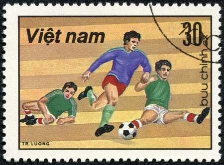 VIETNAM - CIRCA 1980  A stamp printed in the Vietnam shows sport football game, circa 1980 Stock Photo - 17614962