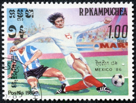 R P KAMPUCHEA-CIRCA 1985  Postage stamps printed in R P  Kampuchea, is devoted to the Football Championship in Mexico-86, circa 1985 Stock Photo - 17614961