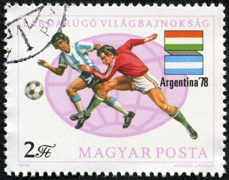HUNGARY - CIRCA 1978  A stamp printed in Hungary showing football players of Hungary against Argentina, circa 1978 Stock Photo - 17554714