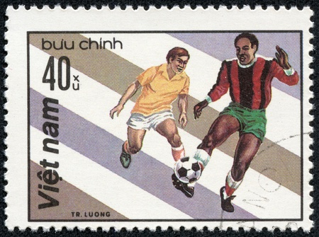 VIETNAM - CIRCA 1980  A stamp printed in the Vietnam shows sport football game, circa 1980 Stock Photo - 17554710