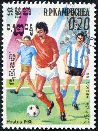 CAMBODIA - CIRCA 1985  stamp printed by Cambodia, shows World Cup Soccer Championships, circa 1985  Stock Photo - 17554721