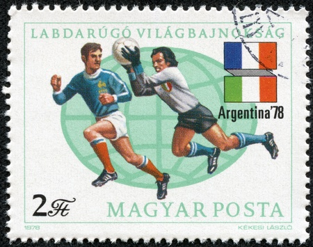 HUNGARY - CIRCA 1978 A post stamp printed in Hungary shows football players, Argentina 1978 11th World Cup Soccer Championships, circa 1978  Stock Photo - 17615005
