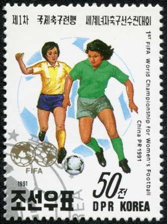KOREA - CIRCA 1991  a stamp printed in North Korea Shows the Soccer Players with Inscription  1st fifa world championship for Women s football,china 1991 , circa 1991
