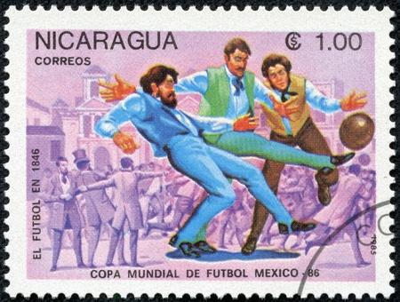 NICARAGUA - CIRCA 1985  A stamp printed in Nicaragua showing football circa 1985 Stock Photo - 17615012