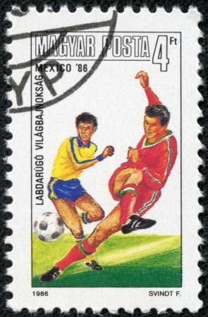 HUNGARY - CIRCA 1986  A stamp printed in the Hungary shows FIFA World Cup 1986 in Mexico, circa 1986 Stock Photo - 17614985